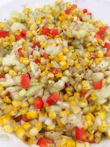 grilled corn salad close up view
