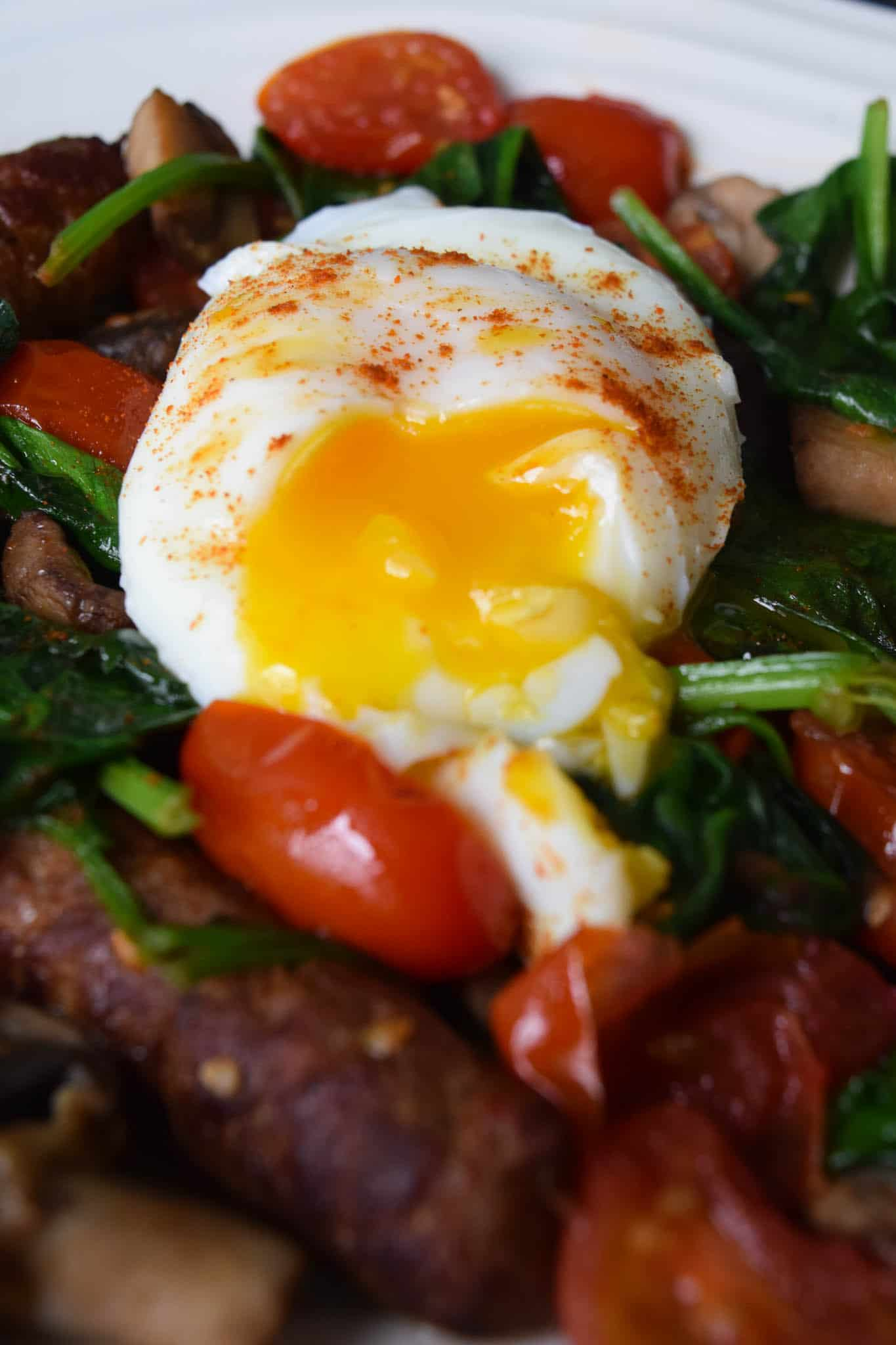 Poached Eggs Over Chicken Sausage and Veggies