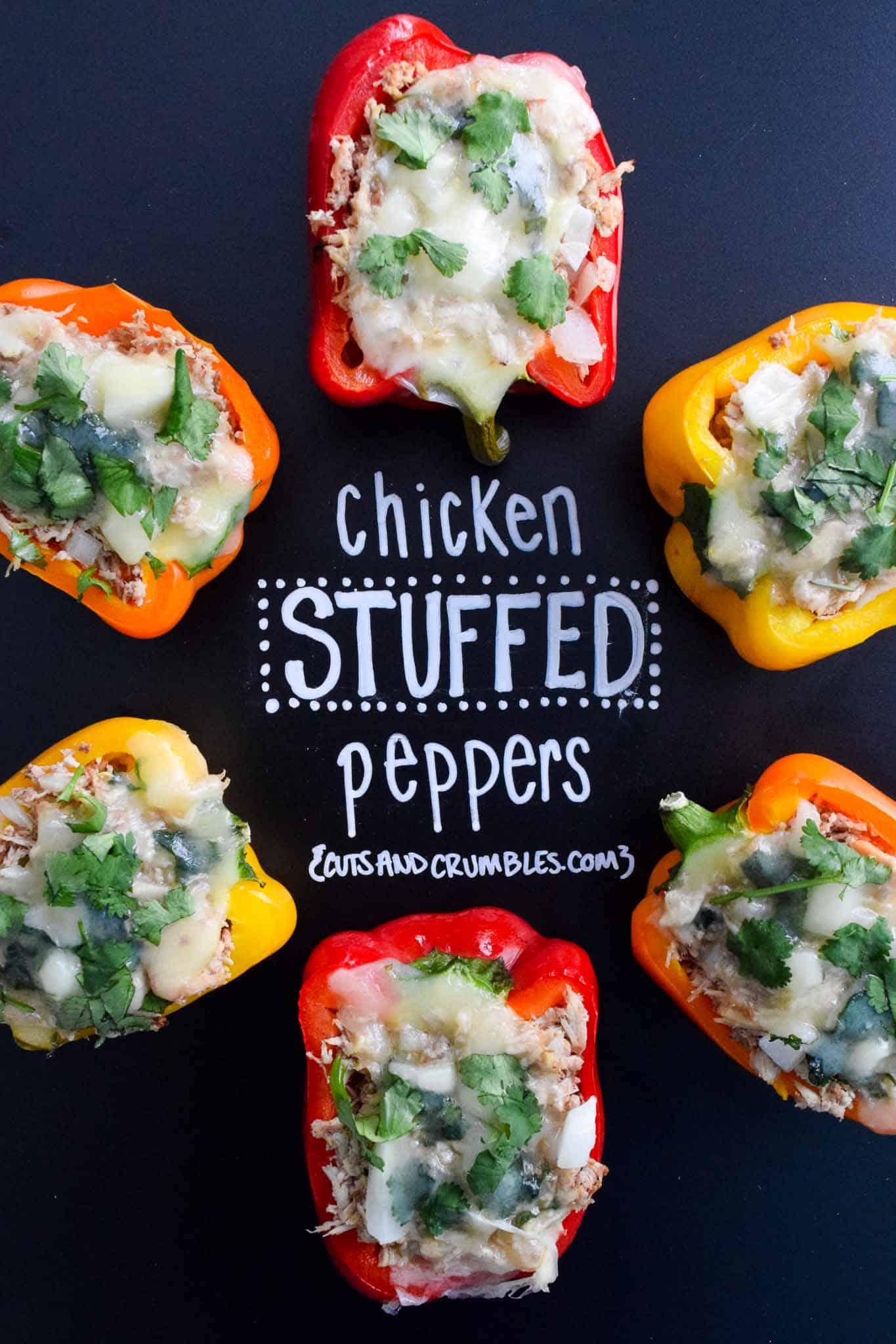 chicken stuffed peppers with title written on chalkboard