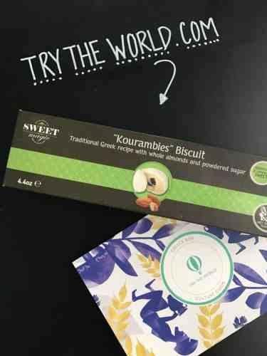 Box of Kourambies Biscuit with try the world card beside it