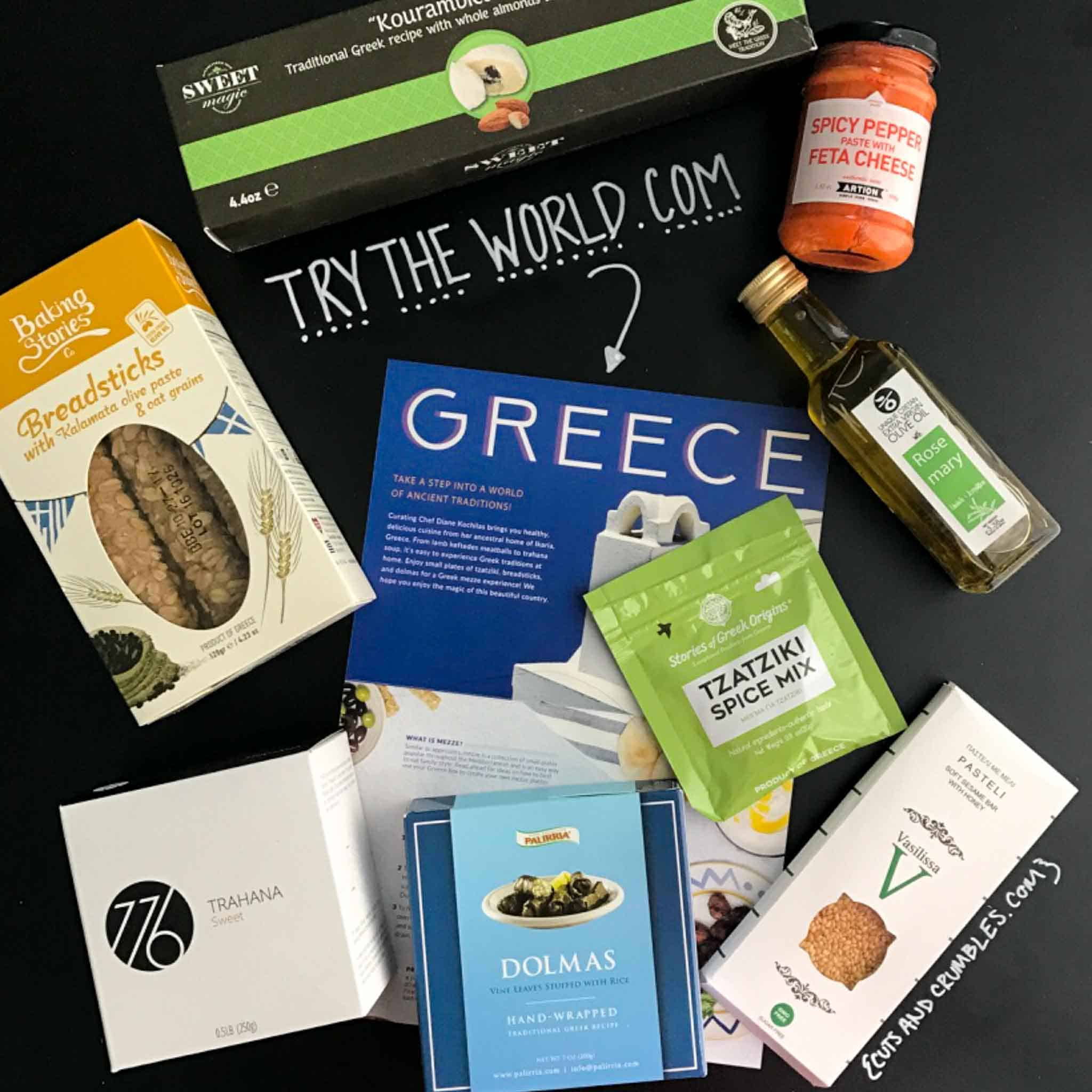 Try the world food items on chalkboard with Greece card overhead shot