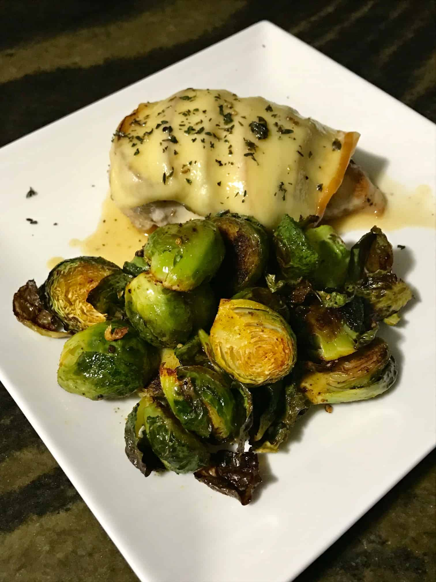 Home Chef Gouda Chicken with brussels sprouts on white plate