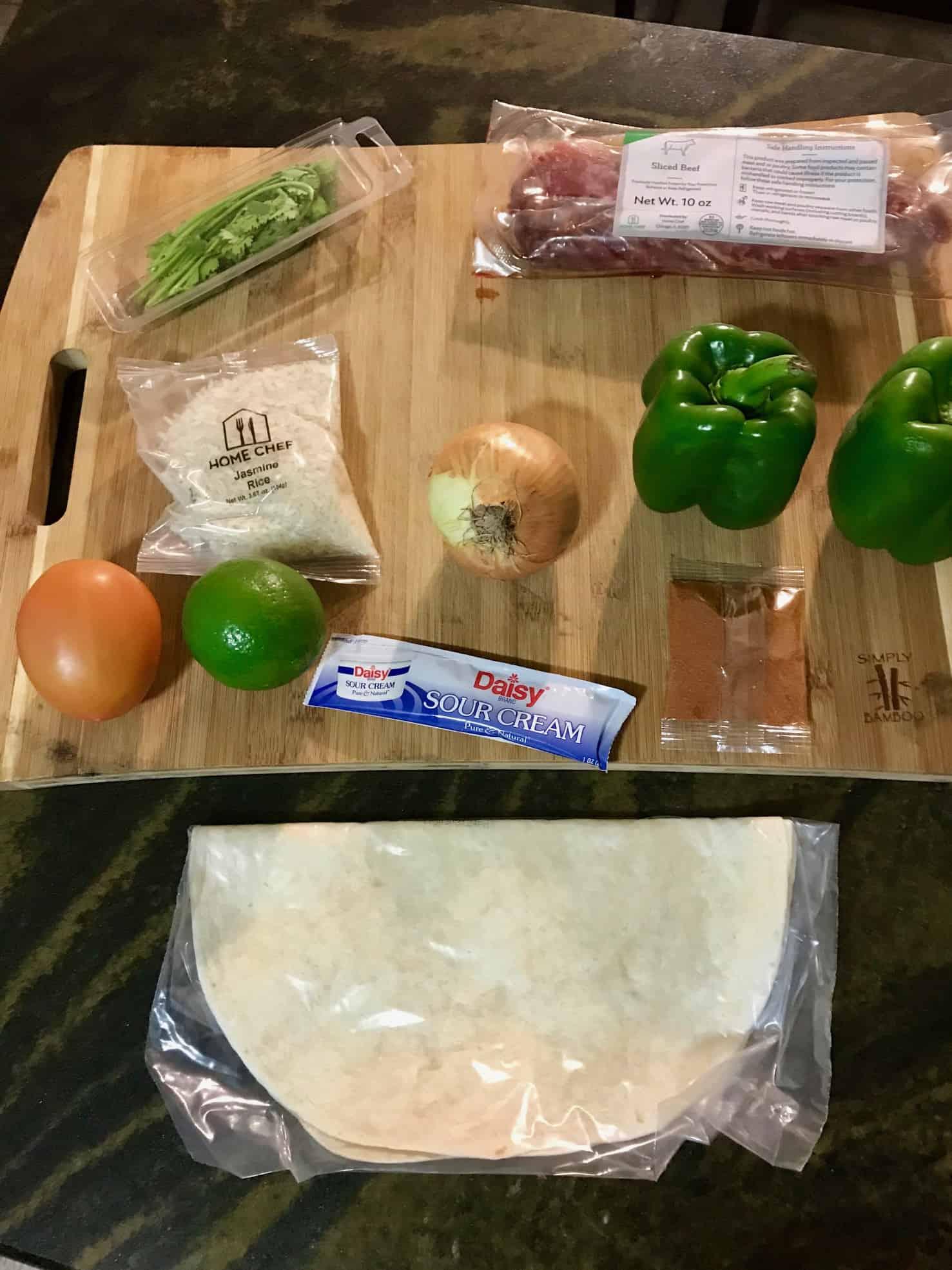Home Chef Strip Steak Tacos ingredients overhead shot
