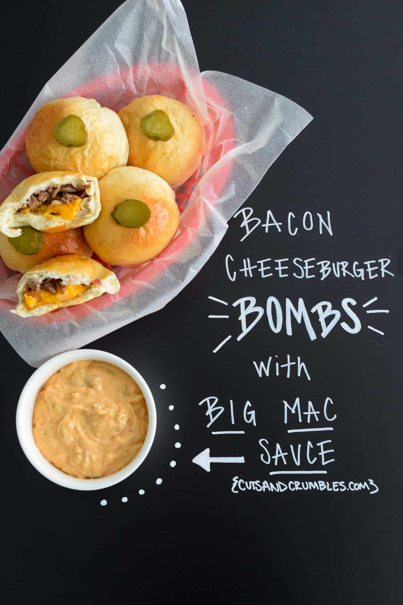 Bacon Cheeseburger Bombs with Big Mac Sauce with title written on chalkboard