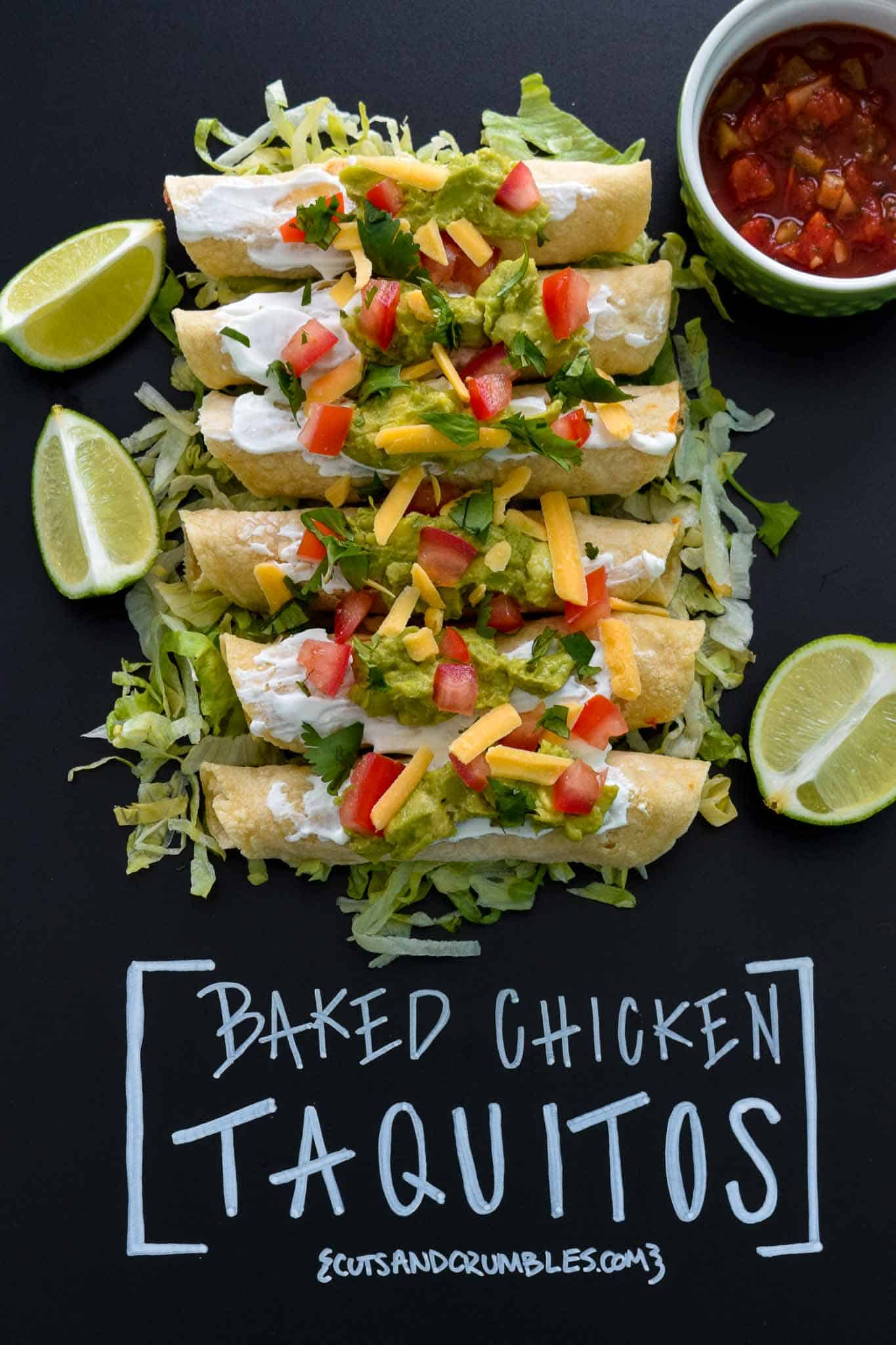Baked Chicken Taquitos with title written on chalkboard
