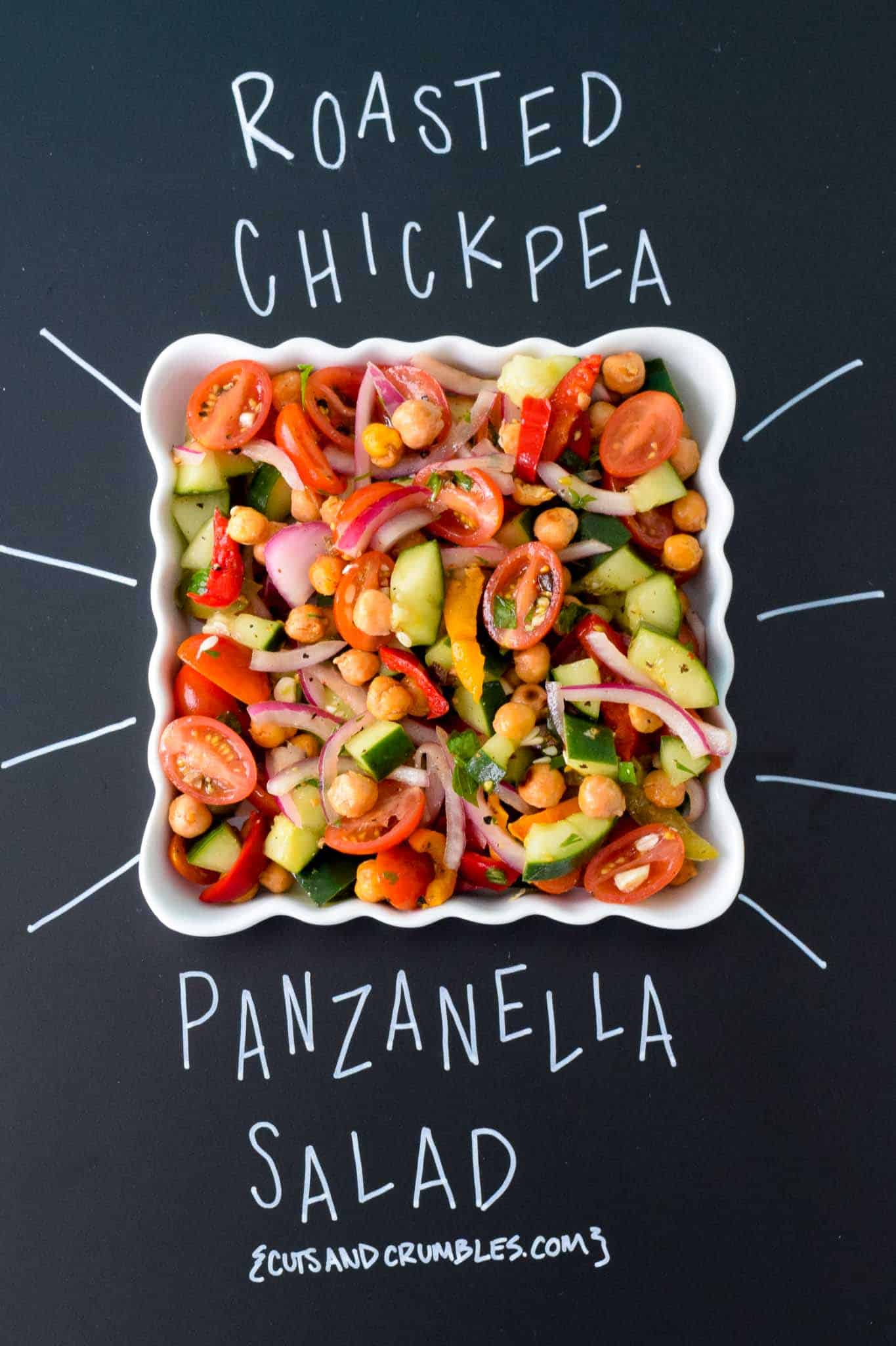 Roasted Chickpea Panzanella Salad with title written on chalkboard