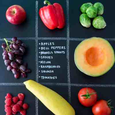 September Seasonal Produce Guide with produce in quadrants on chalkboard