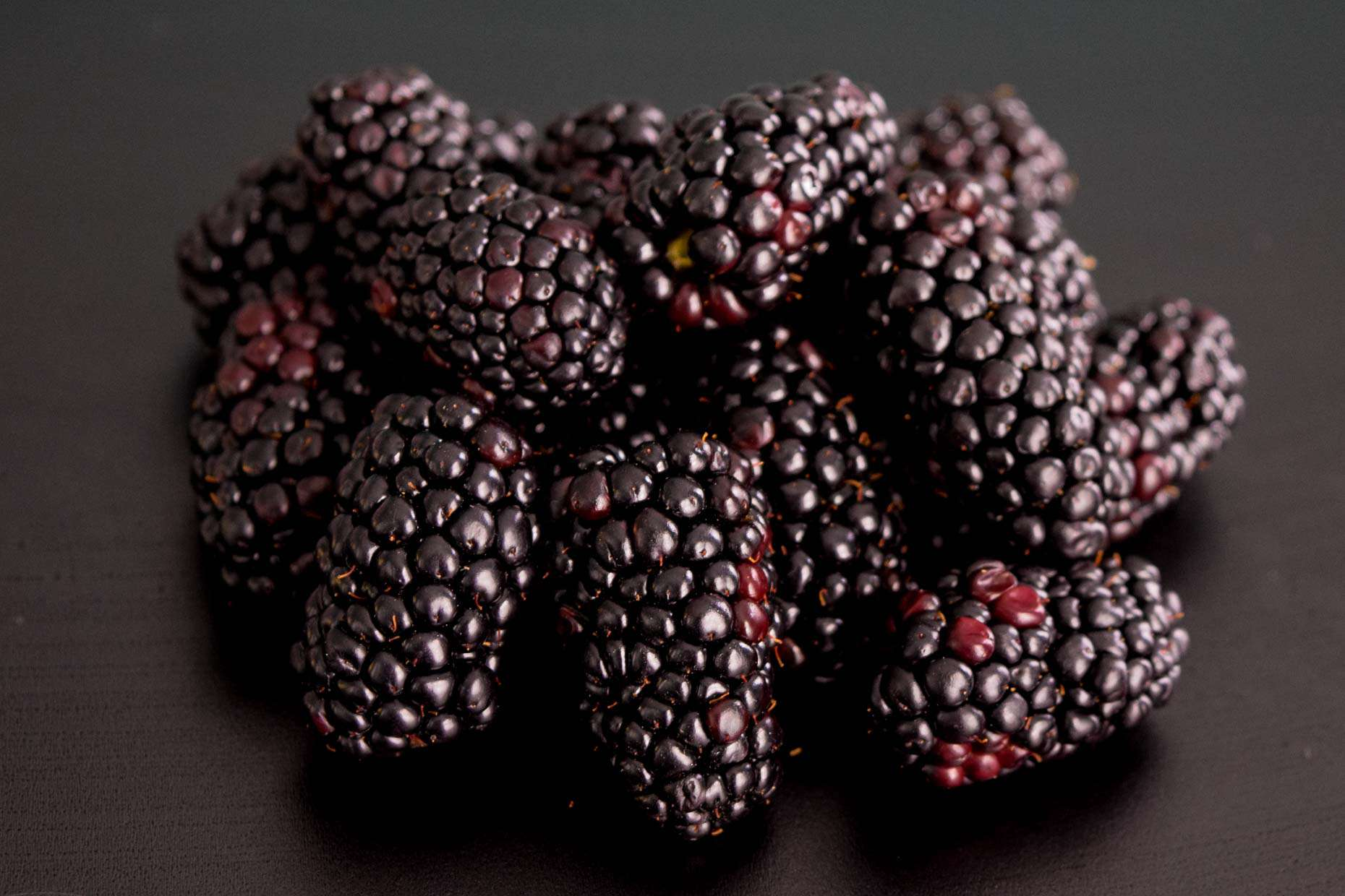 Blackberries on black background