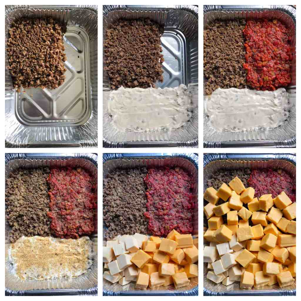 Collage of smoked queso dip ingredients being organized into a 9x13 pan
