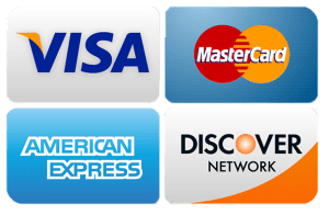 Visa, Mastercard, AMEX, Discover Accepted!