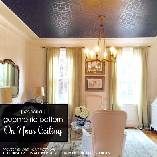Stencil A Geometric Pattern On Your Ceiling