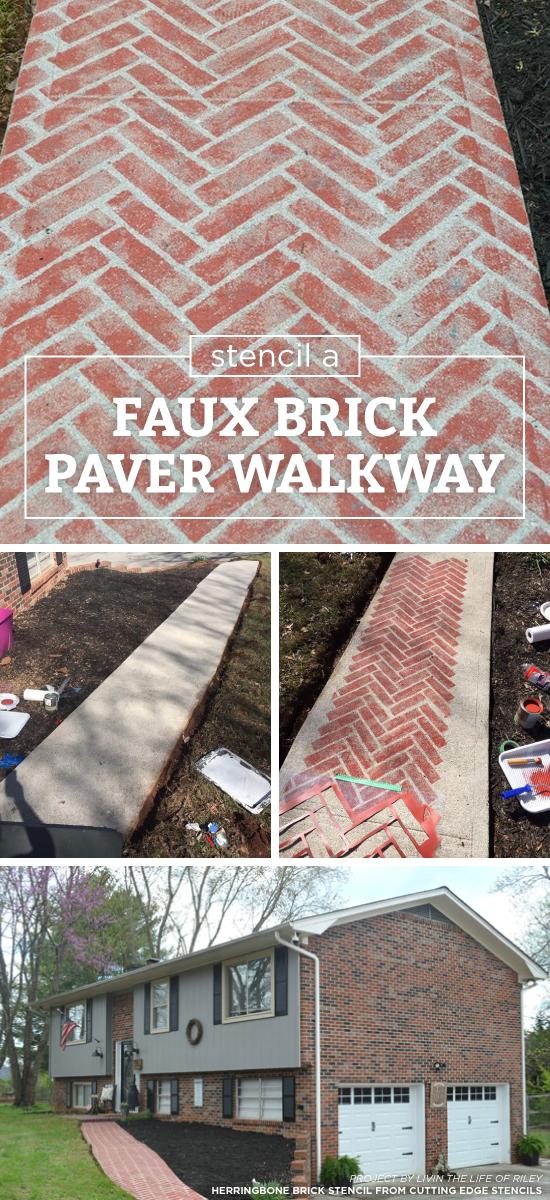 Stencil A Faux Brick Paver Walkway Stencil Stories