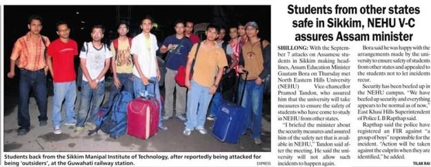 Indian Express Mixes Shillong with Sikkim