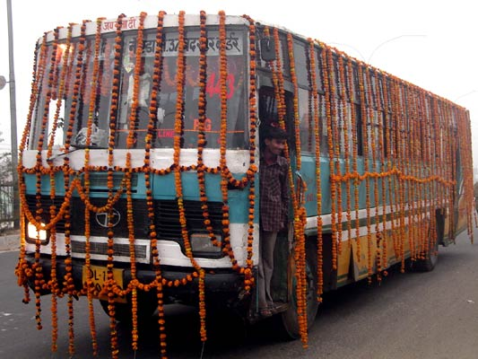 A city bus in Delhi decorated for the new year
