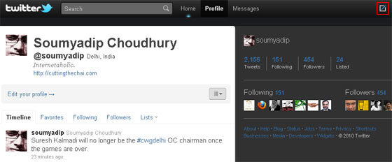 Profile page in new Twitter