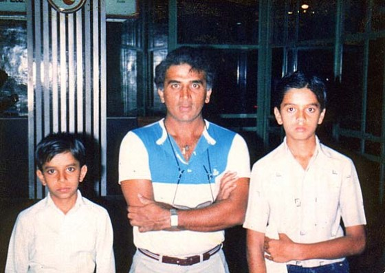A young Rahul Dravid with Sunil Gavaskar