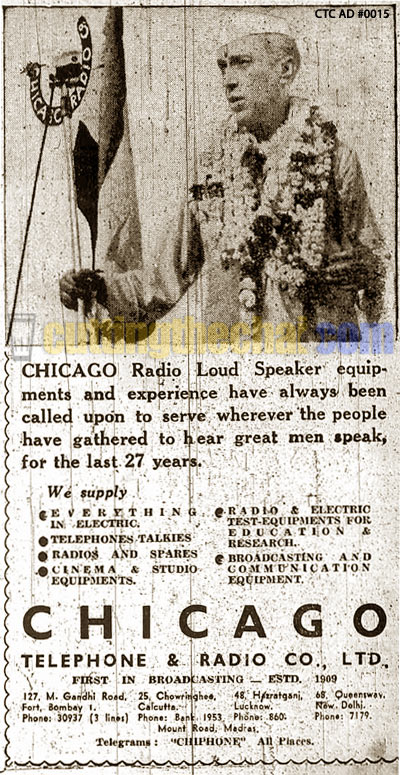 Jawaharlal Nehru in a 1950 ad for Chicago Telephone & Radio