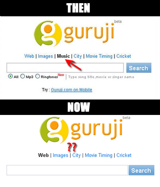 Guruji removes music search link