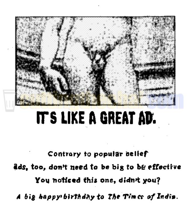 Great ads, Michelangelo's David's penis and The Times of India