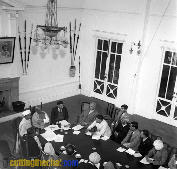 Sardar Vallabhbhi Patel in a meeting with local leaders in Government House (Raj Bhawan) , Shillong in January 1948.