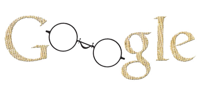 The unofficial Google doodle on Mahatma Gandhi's birthday incorporates two symbols characteristic of the great man - khadi and the classic round spectacles.