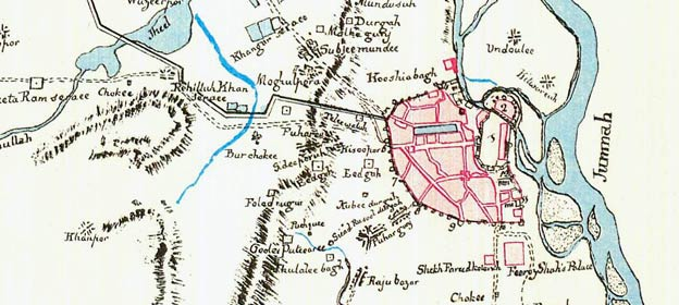 206-year-old hand-drawn map of Delhi from 1807 on beijing on map, dhaka on map, dubai on map, isfahan on map, kuala lumpur on map, pataliputra on map, kabul on map, osaka on map, mughal empire on map, manila on map, agra on map, calcutta on map, chittagong on map, madras on map, amritsar on map, lahore on map, karachi on map, sind on map, kolkata on map, goa on map,
