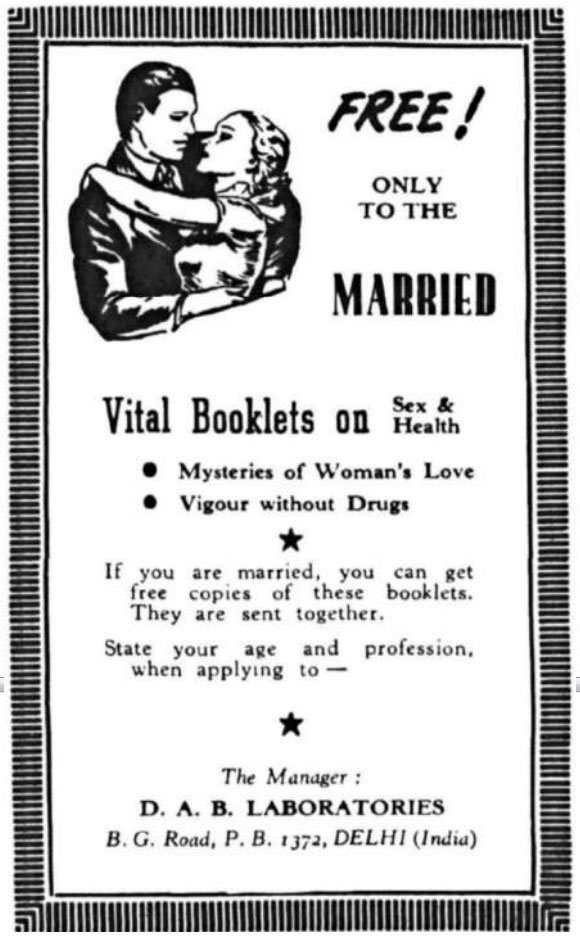 Vital books on sex and health: Free! (only to the married)