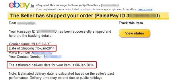 According to eBay India, Blue Dart has a time machine