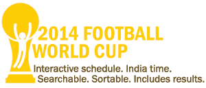 2014 Football World Cup schedule: Interactive, searchable, sortable, embeddable; includes results, time in IST