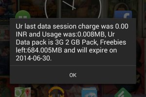 Idea Cellular data uage notification