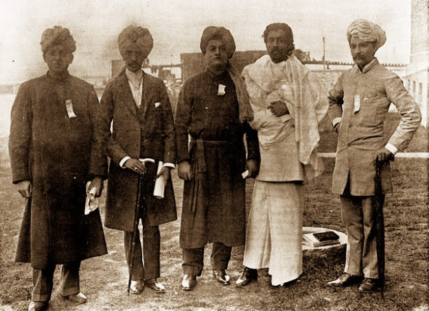 Vivekananda with other delegates from India at Chicago