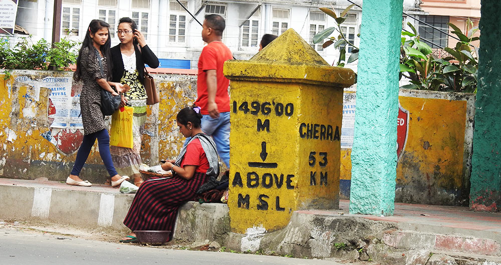 A milestone opposite the Shillong Club in Shillong.