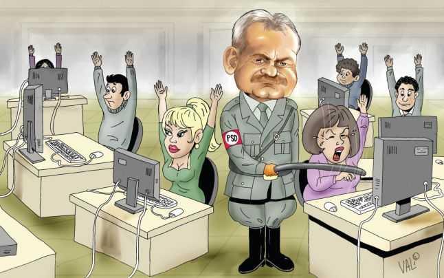 Preşedintele Liviu Dragnea vrea să limiteze libera exprimare. Caricatură Vali Ivan