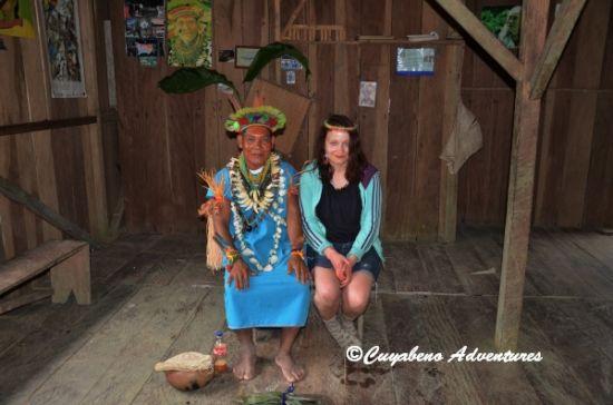 Meeting the Shaman at Siona Community visit, Cuyabeno Ecuador