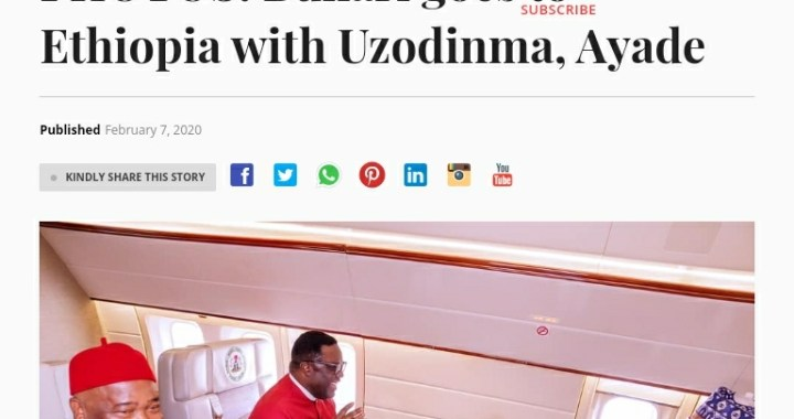 Shocking Reasons Why President Buhari Flew With Gov Hope Uzodimma To Ethiopia.