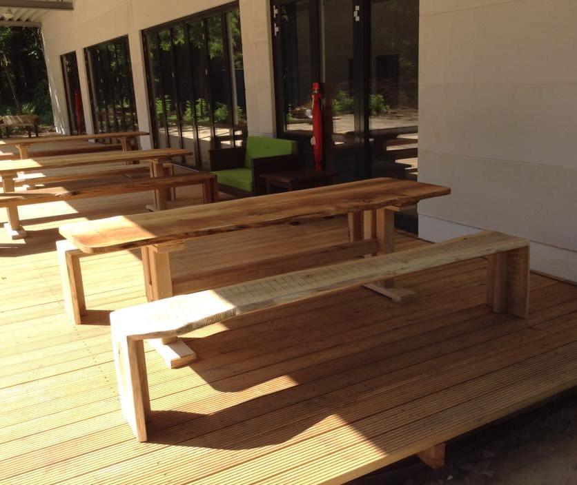 rustikalen Sitzmöbel aus Eichenholz