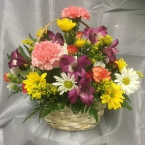 Bushel and a peck basket of fresh flowers