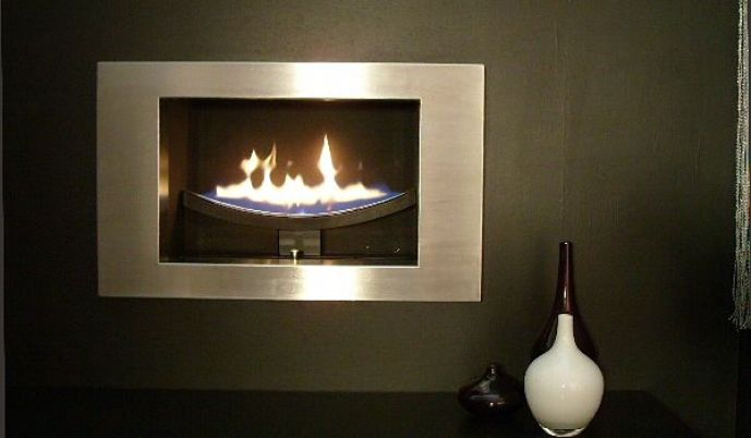 hole in the wall cast slit gas fireplace with brushed stainless steel fascia