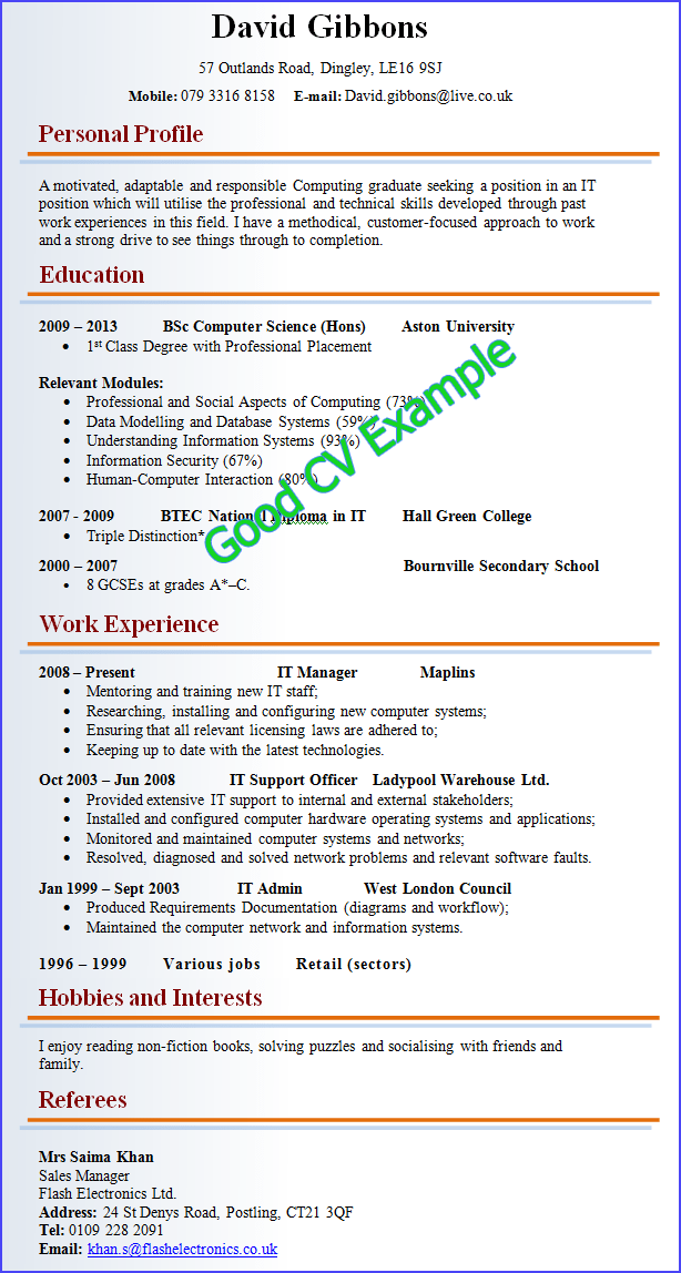 writing a good cv examples