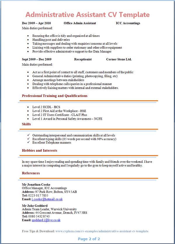 Sample Resume For Administrative Job