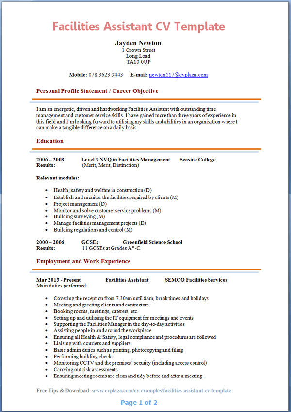 Assistant Resume Examples ResumeBaking
