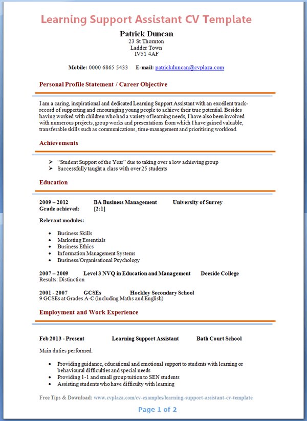 learning support assistant cv example tips and download