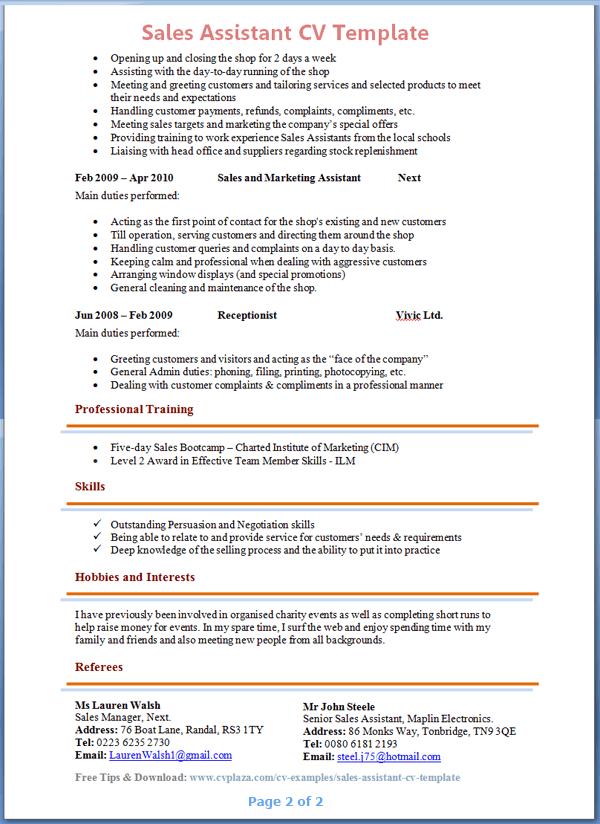 Samples Of Job Duties for Selected Job Experience