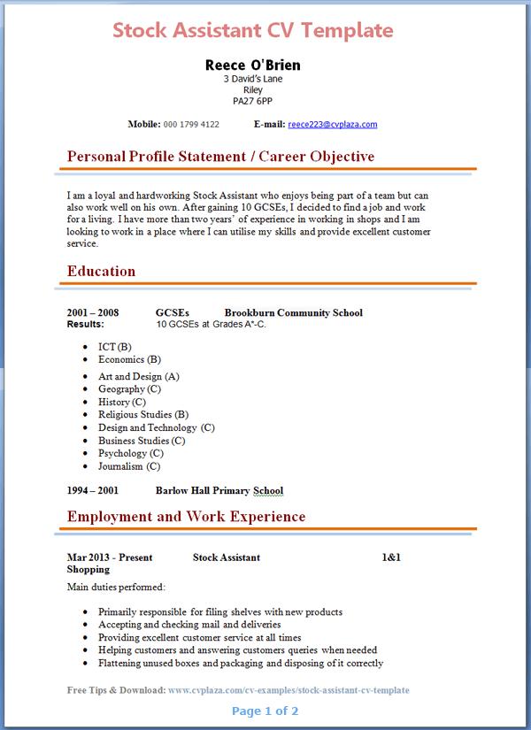 Retail Sales Assistant Cv Examples Uk