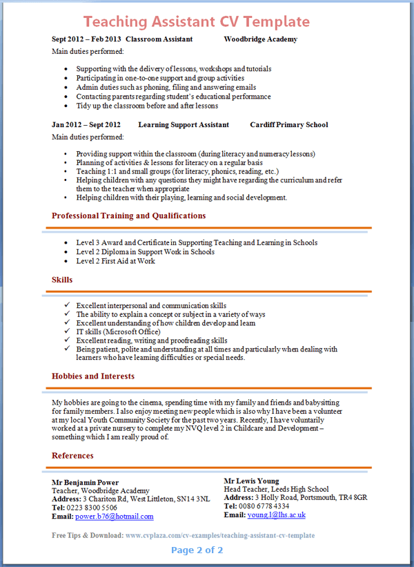 Teacher Resume Personal Profile. Resume Sample In Word Document