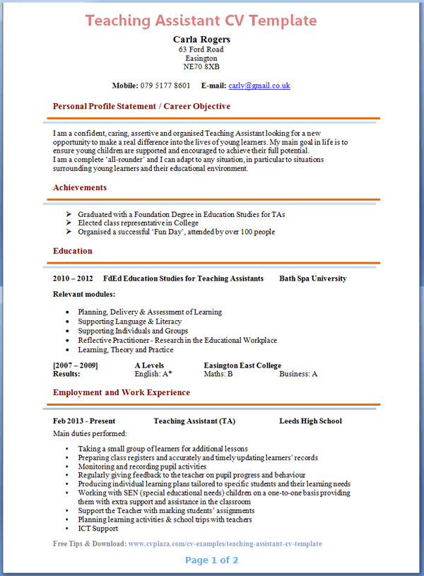 please note the above cv example is presented in the uk format and