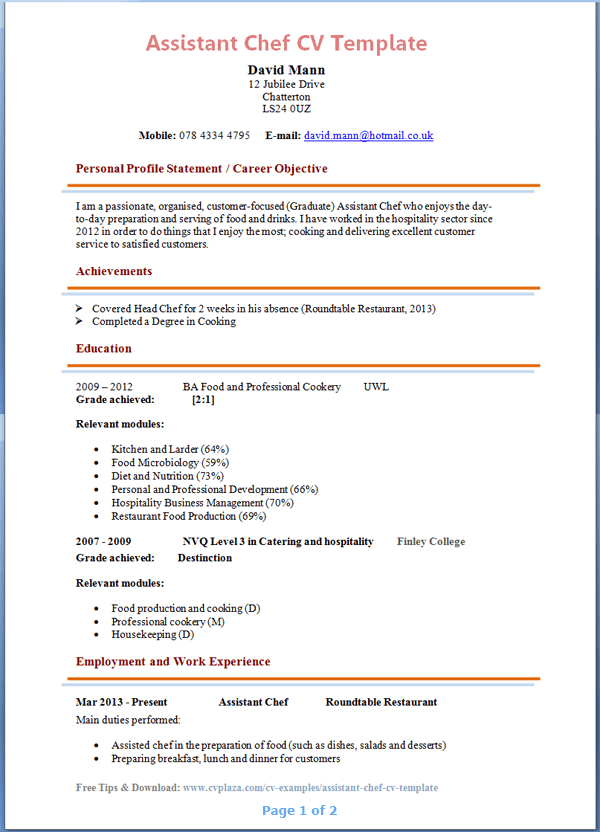 500708 resume templates for chefs chef resume sample