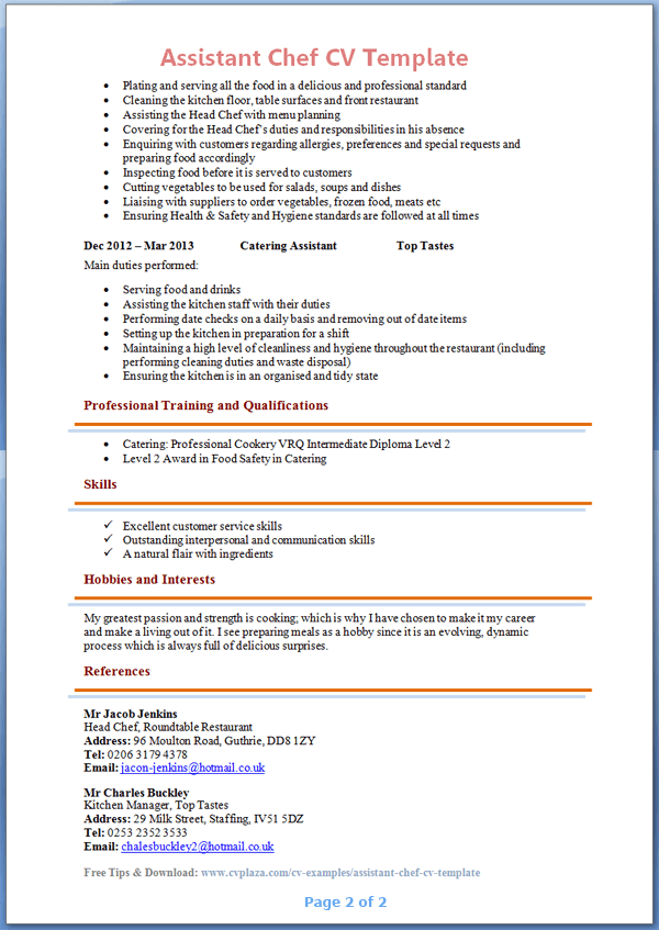 Personal Chef Resume. Personal Chef Resume Resume Examples