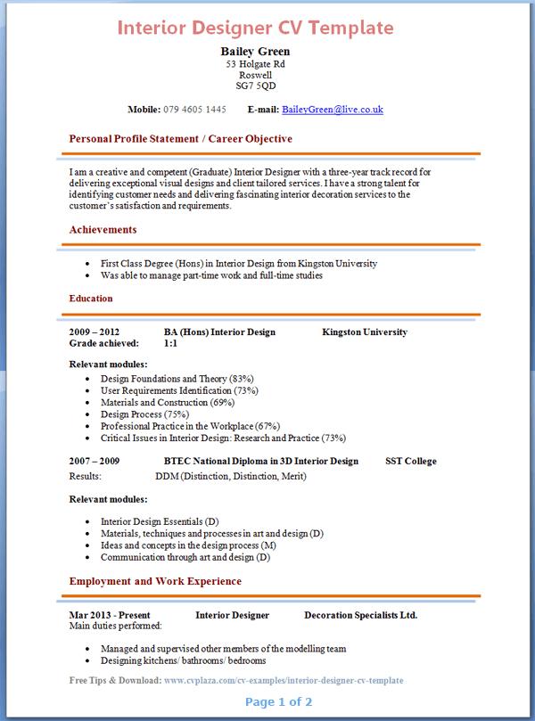 cv template tips and download cv plaza