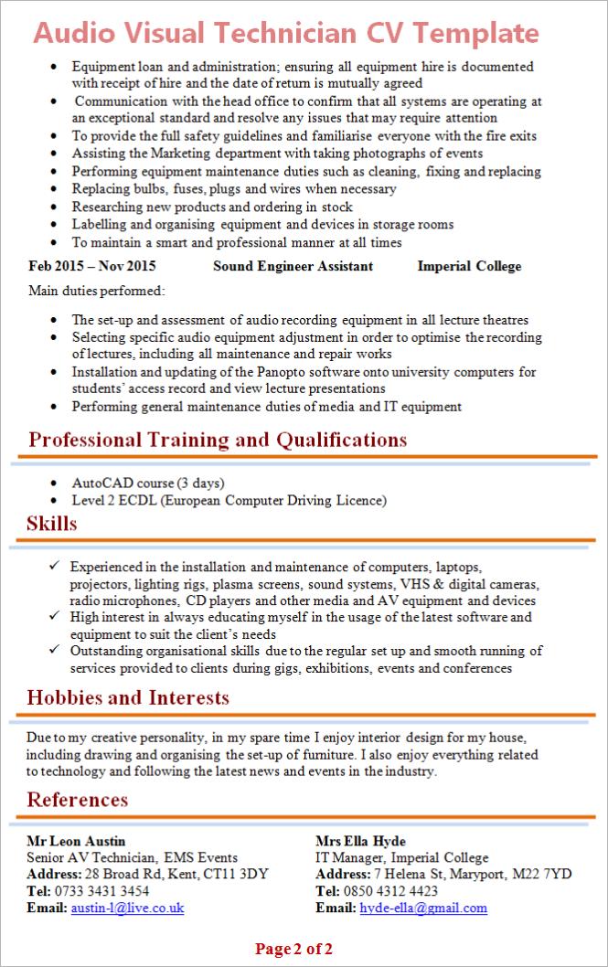 Amazing Audio Visual Resume Examples Ensign - Professional Resume ...